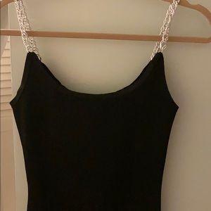 NWT KikiRiki Black Bodycon Dress With Chain Straps